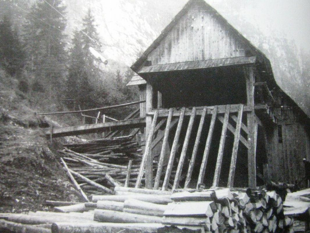 Spodnja postaja  gozdarske žičnice v Blatnem grabnu (1883 - 1964)
