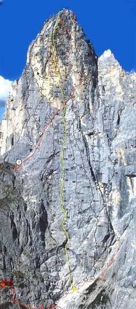 Smeri v vzhodni steni Saas Maora. Označeni sta Supermatita (rumena) in Solleder (rdeča).
