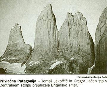 Privlačna Patagonija - Tomaž Jakofčič in Gregor Lačen sta v Centralnem stoilpu preplezala Britansko smer