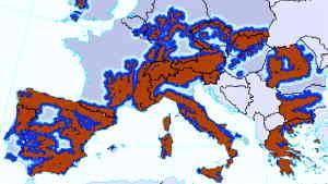 Z rjavo barvo so označena gorata območja v naštetih evropskih državah