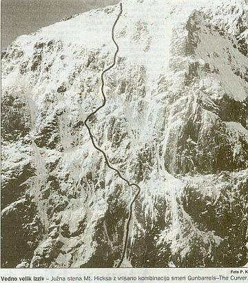 J stena Mt. Hicksa z kombinacijo Gunbarrels-The Curver